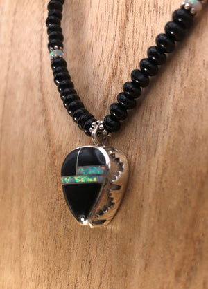 Onyx Necklace With Jet And Opal Inlay Pendant - Close Up