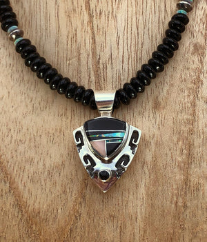 Onyx Necklace With Jet,  Opal, & Mother of Pearl Inlay Pendant - Close Up