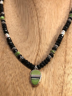 Onyx And Gaspeite Necklace with Gaspeite Inlay Pendant