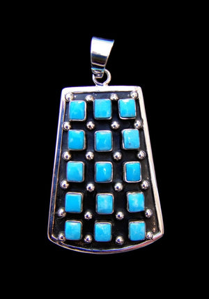 Sterling Silver 15 Stone Turquoise Pendant