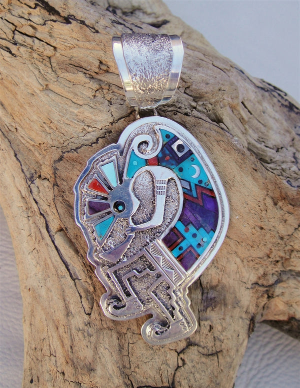 Inlaid Kokopelli Pendant
