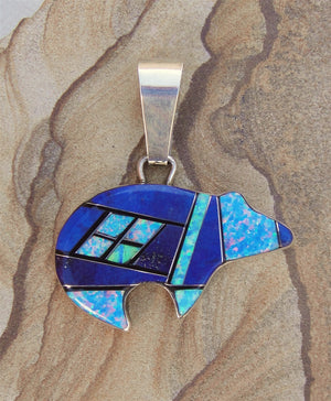 Lapis And Opal Inlaid Bear Pendant