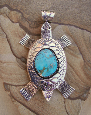 Sterling Silver and Turquoise Turtle Pendant