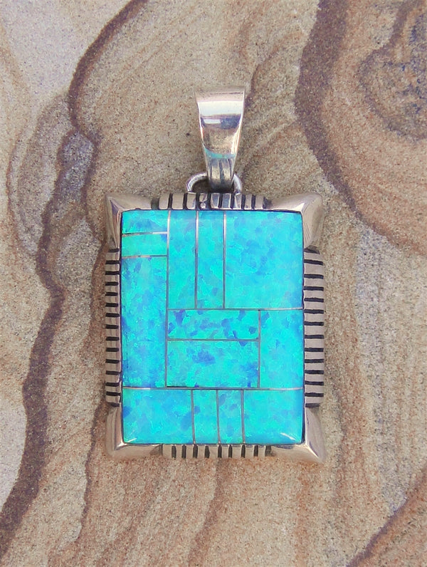 Blue Opal Inlaid Pendant