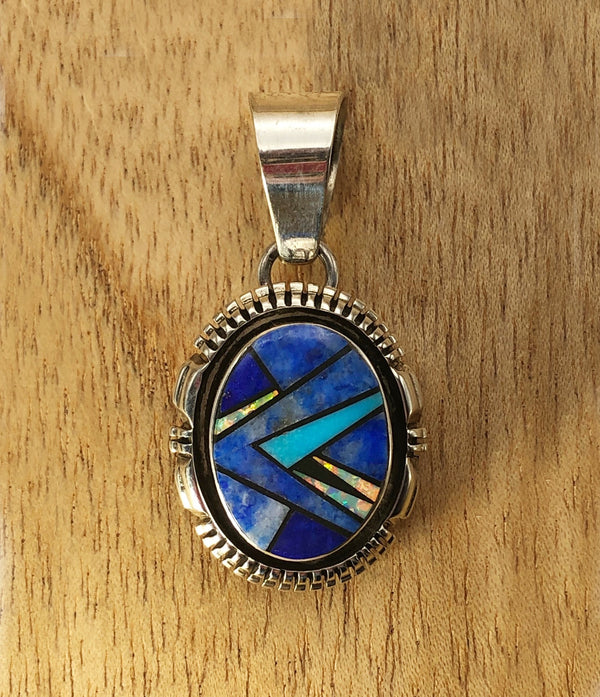 Lapis, Opal, And Turquoise Inlaid Pendant