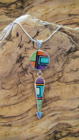 Inlaid Multi-stone Pendant