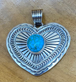Sterling Silver and Turquoise Heart Pendant