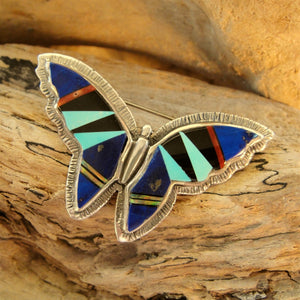 Multi Stone Inlay Butterfly Pin