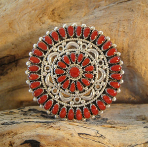 Zuni Red Coral Pin