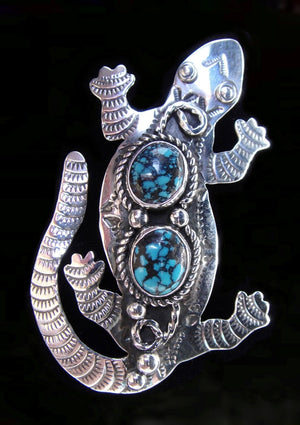 Sterling Silver and Turquoise Lizard Pin