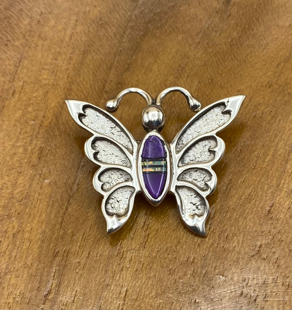 Butterfly Pin with Sugilite Inlay