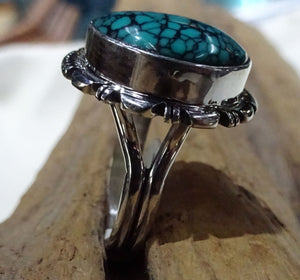 Navajo Turquoise Sterling Silver Ring - Side View
