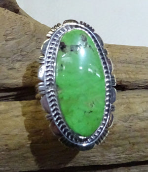 Gaspeite and Sterling Silver Ring