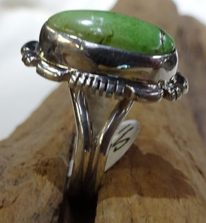 Gaspeite and Sterling Silver Ring - Side View