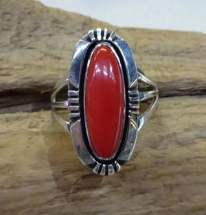 Red Coral and Sterling Silver Ring