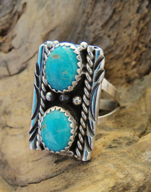 2 Stone Turquoise & Sterling Silver Ring - Side View