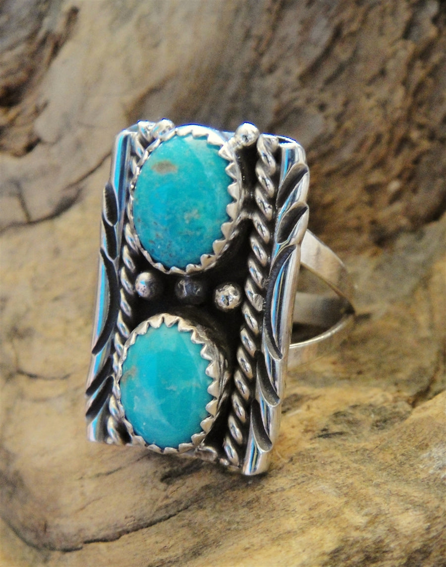 2 Stone Turquoise & Sterling Silver Ring