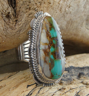 Boulder Turquoise & Sterling Silver Ring - Side View