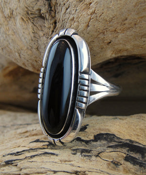 Black Onyx & Sterling Silver Ring - Side View