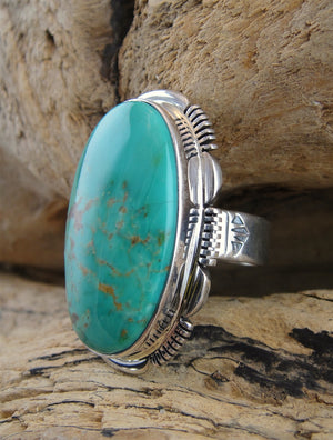 Turquoise & Sterling Silver Ring - Side View