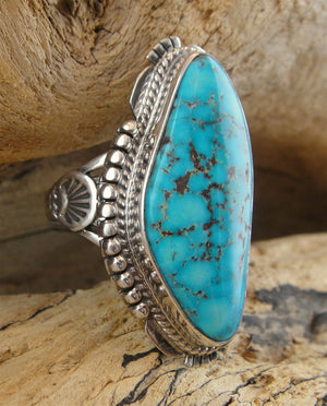 Kingman Turquoise Sterling Silver Ring - Side View