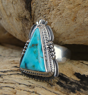 Candelaria Turquoise Triangle Ring - Side View