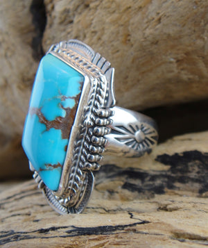 Candelaria Turquoise Sterling Silver Ring - Side View