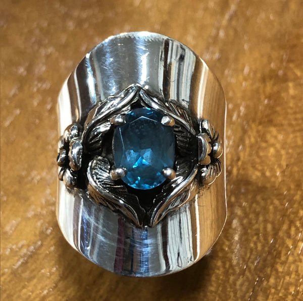 Wide Blue Topaz Ring