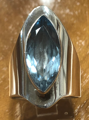 Contemporary Blue Topaz Ring