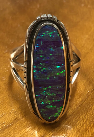 Purple/Green Opal Ring