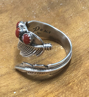 Red Coral Feather Ring