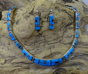 Turquoise Inlay Link Necklace Set