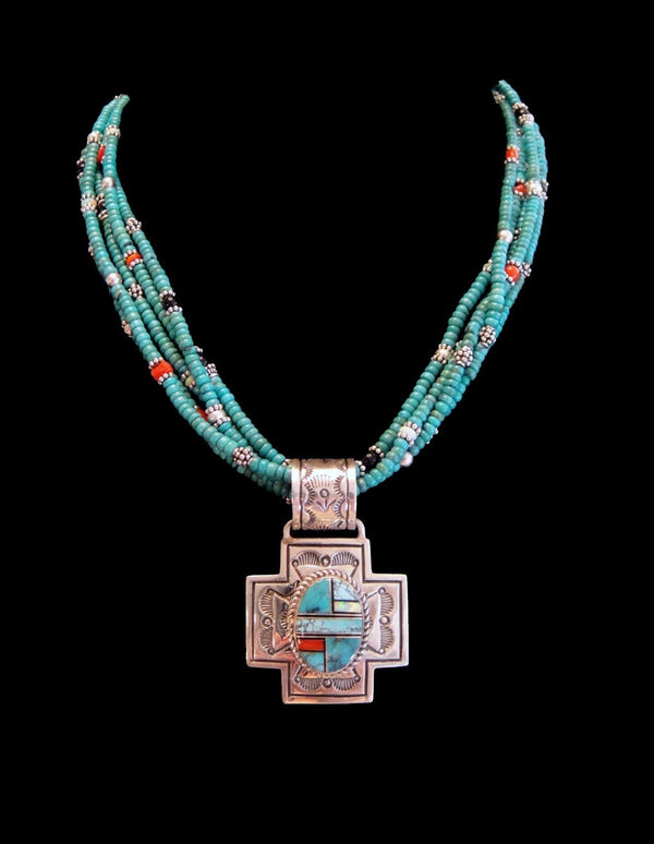 Turquoise Necklace With Inlay Cross Pendant