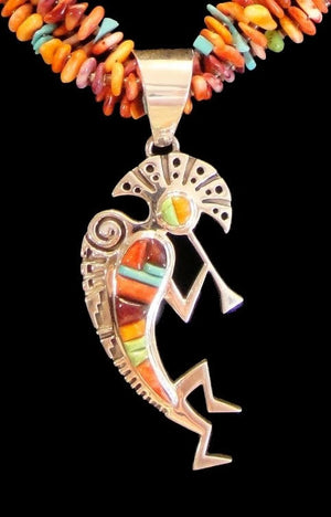 Multi Stone Necklace With Kokopelli Inlay Pendant - Close Up