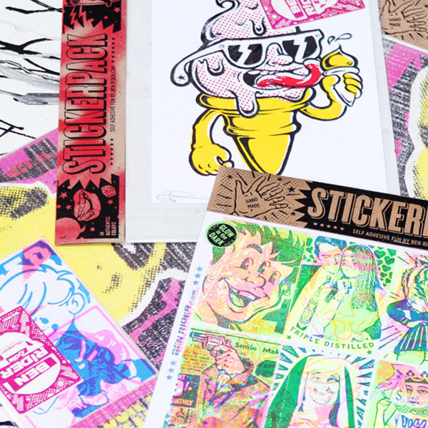 Screen Printed Sticker Packs by Ben Rider