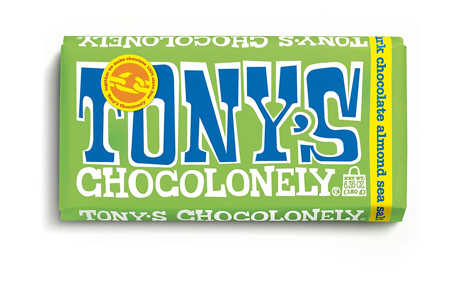 Tony's Chocolonely Dark Chocolate Bar with Almond and Sea Salt 51%