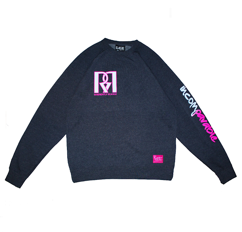 Double R Crewneck in Heather Navy / White / Pink