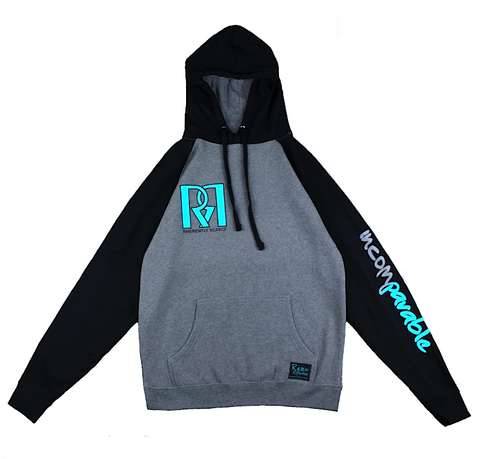Double R Hoodie in Heather Gray / Black / Gray / Crystal Blue