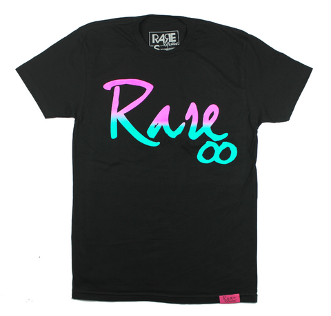Rare Infinity Cursive Tee in Black / Pink / Purple / Teal
