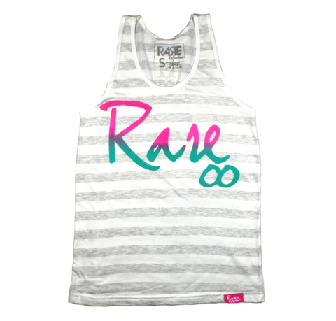 Rare Infinity Cursive Tank in Stripes / Pink / Purple / Teal