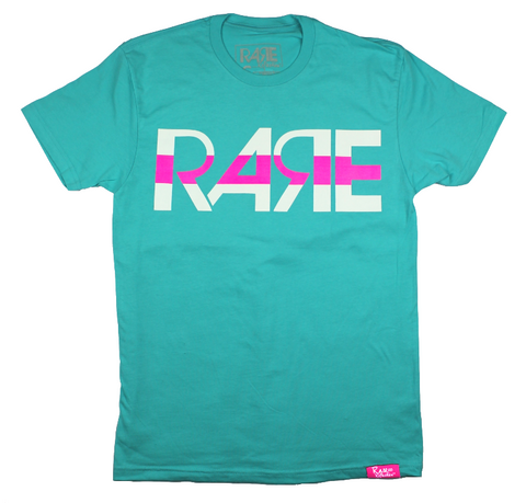 Rare Original Bold Tee in Teal / White / Pink