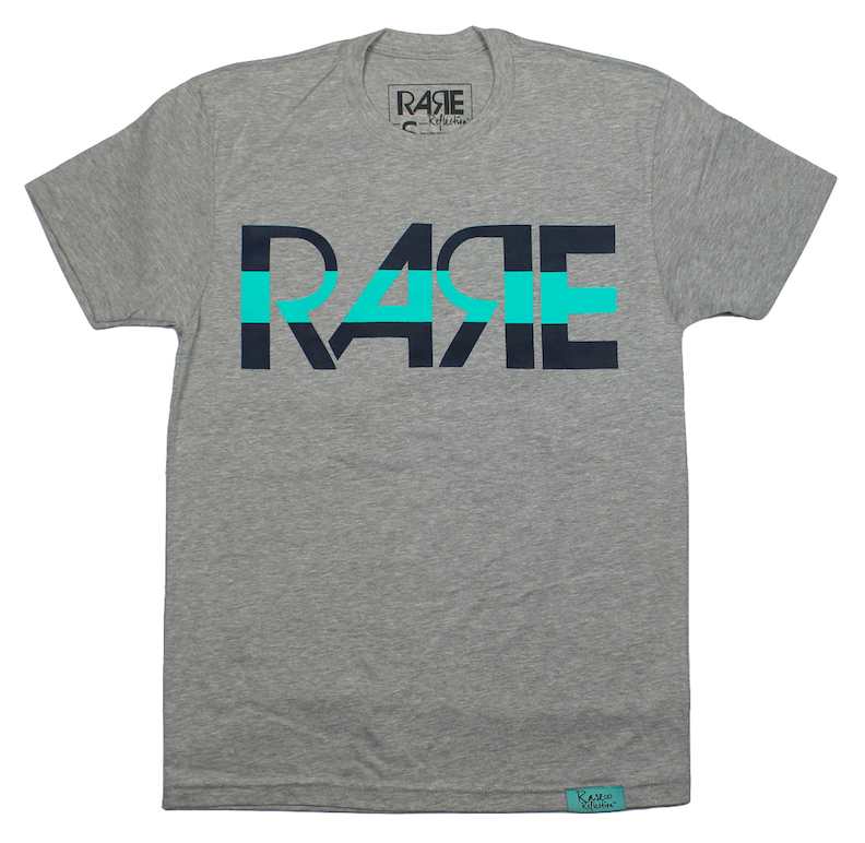 Rare Original Bold Tee in Heather Gray / Navy / Teal