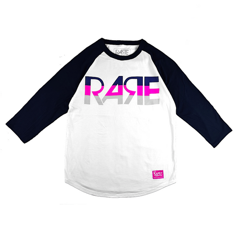 Rare Original Bold Baseball Tee In White / Navy Blue / Pink / Gray