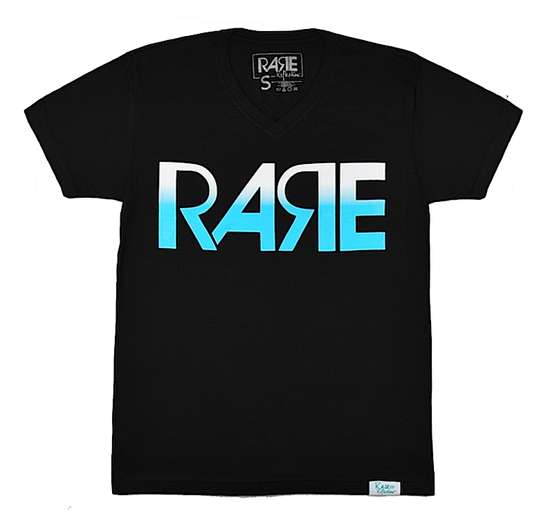 Rare Original Bold V-Neck Tee in Black / White / Crystal Blue