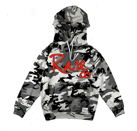 Rare Infinity Cursive Hoodie in Arctic Camouflage / Rare Red
