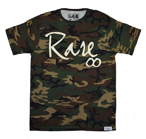 Rare Infinity Cursive Tee in Woodland Camo / Fossil