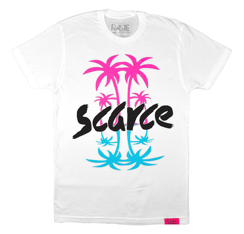 Scarce Palms Tee in White / Neon Pink / Crystal Blue / Black