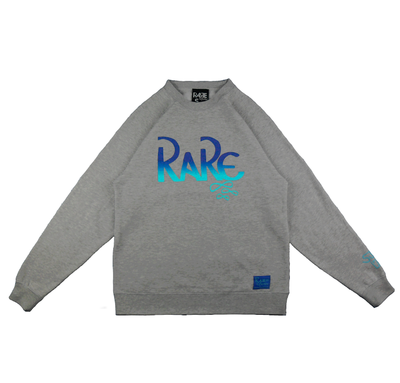 Rare x SJK 171 Crewneck in Heather Gray / Royal Blue / Crystal Blue