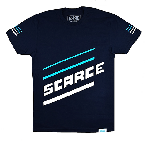 Scarce Tee In Navy Blue / Crystal Blue / White