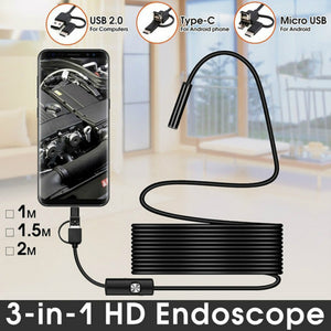 TYPE C USB Mini Endoscope Camera | Flexible Hard Cable Snake Borescope Inspection Camera for Android Smartphone PC